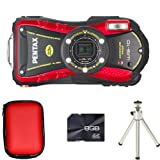 Pentax WG-10 Waterproof Digital Camera - Red + Case + 8GB Card and Tripod (14MP, 5x Optical Zoom) 2.7 inch LCD