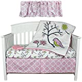 Birds & Flowers 5 Piece Pink and Purple Crib Bedding Set by Kidsline