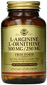 Solgar L-Arginine/L-Ornithine Vegetable Capsules, 500/250 mg, 100 Count