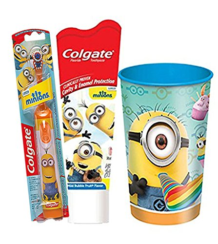 """Minions"" 3Pc Bright Smile Oral Hygiene Set! (1) Minions Orange Turbo Powered Spin Toothbrush (1) Colgate Minions Mild Bubble Fruit Toothpaste! Plus Bonus 160Z Plastic Mouth Wash Rinse Cup!"