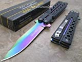 TAC Force Assisted Opening Black Handle Rescue Folder Half Stainless Steel Rainbow Blade Knife