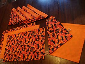 Halloween black cat placemats and napkins for Halloween cloth napkins