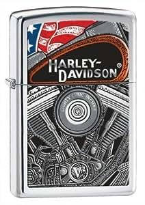 Harley Davidson Motor & Flag Zippo