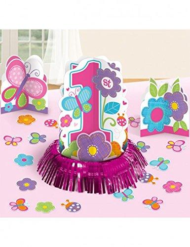Amscan Sweet Birthday Girl 1st Birthday Table Decorating Kit, Large, Pink/White