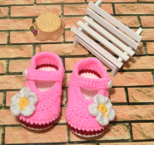 Besto Baby Hand Made Prewalker Crib Crochet Casual Baby Knit Sock Infant White Flower Pink Shoes 0-12M front-1058969