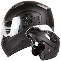 Motorcycle / Snowmobile Matte Black Dual Visor Modular Helmet DOT (XL) by Ivolution Sports, Inc