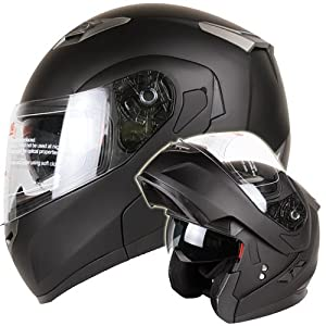 MATTE BLACK DUAL VISOR MODULAR MOTORCYCLE HELMET DOT (Medium) by IV2