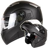 MATTE BLACK DUAL VISOR MODULAR MOTORCYCLE HELMET DOT (Medium)