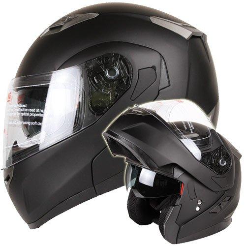 IV2 MATTE BLACK DUAL VISOR MODULAR MOTORCYCLE HELMET DOT (Medium)