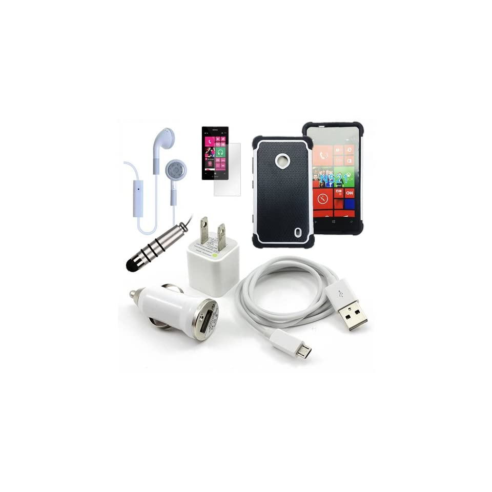 Metro PCS Nokia Lumia 521 White Fusion Tough Rugged Case, USB Car Charger Plug, USB Home Charger Plug, USB 2.0 Data Cable, Metallic Stylus Pen, Stereo Headset & Screen Protector (7 Items) Retail Value $89.95 Cell Phones & Accessories
