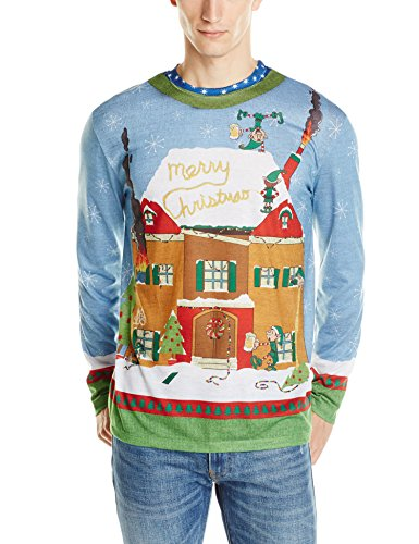 Faux Real Men's Elves Gone Wild Ugly Christmas Sweater Printed Tee