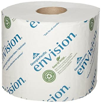 """Georgia-Pacific Envision 14448/01 White 1-Ply High Capacity Standard Bathroom Tissue, 4.05"""" Length x 3.95"""" Width (Case of 48 Rolls)"""