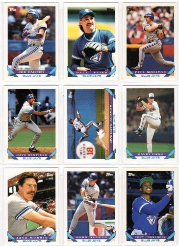 Toronto Blue Jays 1993 Topps Baseball Master Team Set (World Series Champions) Includes Series 1 & 2 Plus Year-End Traded Cards (33 Cards) (Roberto Alomar) (Joe Carter) (John Olerud) (Paul Molitor) (Dave Winfield) (Ed Sprague) (Jack Morris) (Dave Stieb) ( front-673807