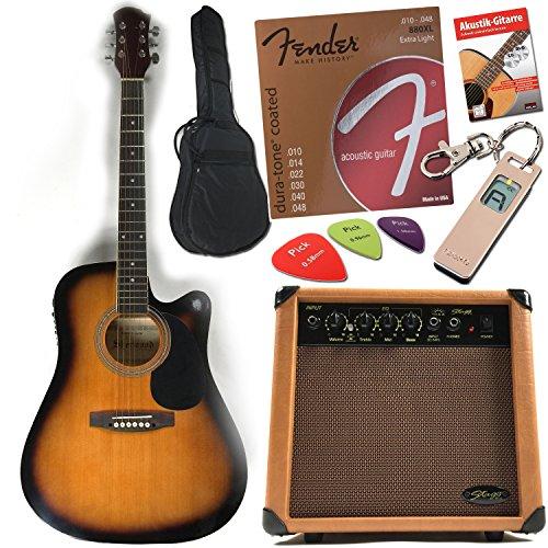 Chitarra acustica/chitarra western Dreadnought Style con pick-up, equalizzatore in Sunburst con originale Fender corde e manuale con CD e DVD, Cavo Strumenti, Borsa, Plettri e accordatore