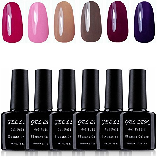 Gellen-UV-Gel-Nail-Polish-6-Pure-Colors-Nail-Art-Manicure-10ml-Each-Sets