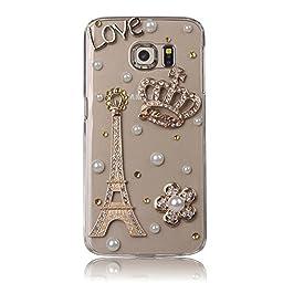 Samsung Galaxy S7 Edge Case, Sense-TE Luxurious Crystal 3D Handmade Sparkle Diamond Rhinestone Clear Cover with Retro Bowknot Anti Dust Plug - Eiffel Tower Crown Flowers LOVE
