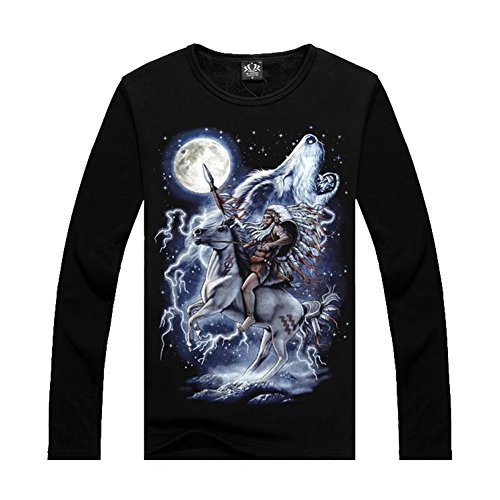 Indian Chief&Moon Wolf Personalized Sweatshirts Fleece Pullover Shirts