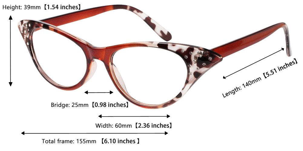 SOOLALA Womens Fashion Designer Rhinestone Cat Eye Magnifying Reading Glasses 1