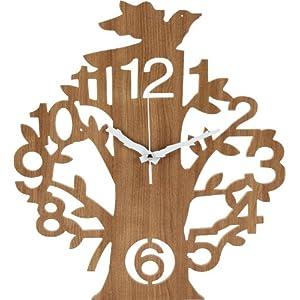 不二貿易 壁掛け 時計 ツリー ナチュラル 56925
