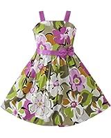 Girls Dress Purple Flower Party Pageant Child Clothes Size 4-12