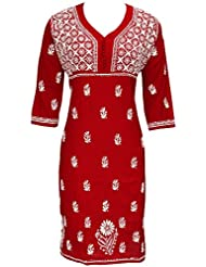 Ada Exclusive Hand Embroidered Casual Red Cotton Lucknowi Chikan Kurti For Women A85012