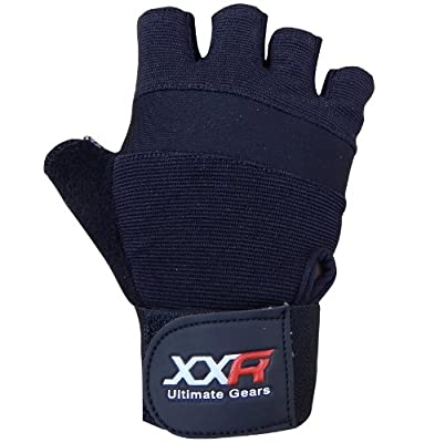 XXR Tex Weight Lifting Gloves Leather Gloves Fitness Strengthen Training Workout Gym Gloves Long Wrap Padded Palm Power Lifter Body Building XS-3XL from XXR-Sports