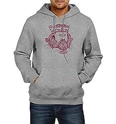 Fanideaz Men's Cotton Robert Baratheon Handrawn Art Game Of Thrones Hoodies For Men (Premium Sweatshirt)_Grey Melange_L