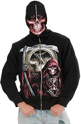 Boys X-Small 26-27 Grim Reaper Costume Hoodie Sweatshirt (Skeleton Hoodie Teen Costume)