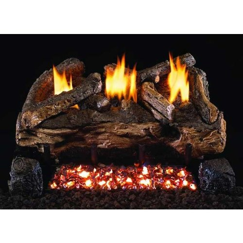 Peterson Gas Logs 18 Inch Evening Fyre Split Vent Free Natural Gas Log Set With Ansi Certified G18 Burner Electronic Non-standing Pilot And Variable Flame Remote