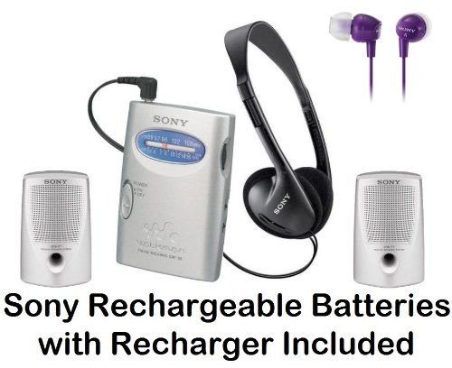 Sony Walkman Portable Lightweight AM/FM Stereo Radio with Belt Clip, Over the Head Stereo Headphones, Violet In-Ear Earbud Headphones & Passive Lightweight Portable Speakers - Plus Sony Rechargeable Batteries with Recharger