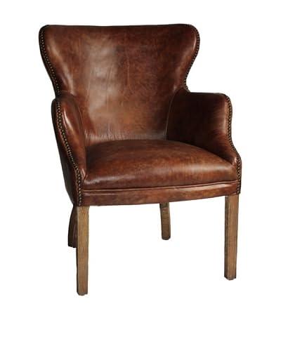 Melange Home Abbey Top-Grain Leather Armchair, Mountain Black