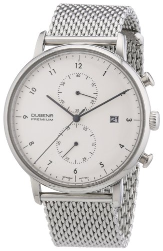 Dugena Dugena Premium 7000035 - Reloj cronógrafo de cuarzo para hombre, correa de acero inoxidable color plateado