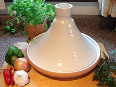 Rusticcream Glazed Terracotta 28cms Tagine by Spanish