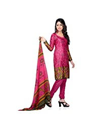 Triveni Womens Crepe Casual Wear Dress Material (Tshcssk6694C -Pink -Free Size)