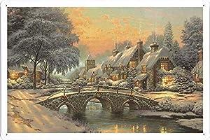 ARMVAS DÉCOR Metal Poster Tin Sign Plate 20x30cm - Classic Christmas Painting By Thomas Kinkade