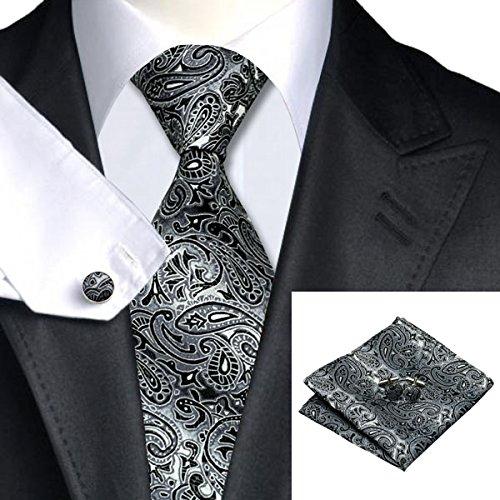 Gray Black Paisley Tie Hanky Cufflinks Sets Men's 100% Silk Ties for men