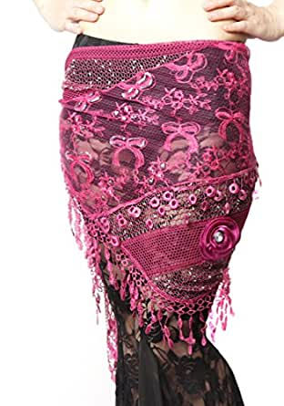 Belly Dance Flower Design Hip Scarf , Lace Fringe Waist chain, Belly dance costumes