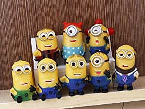 8pcs/lot 4-6cm Mini Despicable ME Yellow Minion Toys Kids Cute Dolls (set A)