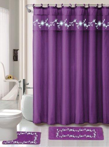 15 Piece Elegant Embroidery Heavy Duty Fabric Shower Curtain And Bathroom Mat Set Purple