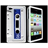 InSassy Apple iPhone 4 / 4G White Silicone Cassette Tape Case / Skin / Cover