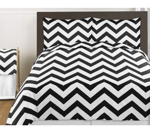 Sale Black and White Chevron 4pc Childrens and Kids Zig Zag Twin