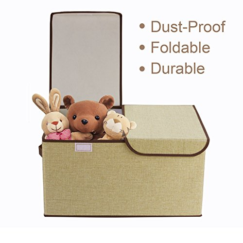 Foldable Storage Cubes, Cshidworld Fabric Bin Dual Clothing Storage Baskets Box with Lid, Dual Handles for Baby, Kids, Children Clothing Organizer, Home Goods, Beige (Newspaper Storage Container compare prices)