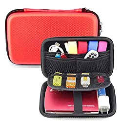 HESPLUS Waterproof Anti-Shock Hard Carrying Case for Seagate Backup Plus Slim 2TB 1TB / Western Digital WD My Passport Ultra 1TB 2TB [2.5 inch Portable External Hard Drive],Excellent Organizer Storage Cover Pouch Bag for Memo