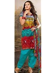 Exotic India Tri-Color Printed Salwar Kameez Suit - Multi-Coloured