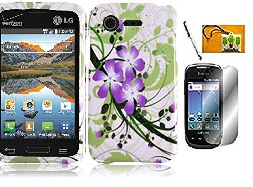 LF 4 in 1 Bundle - Designer Hard Case Cover, Lf Stylus Pen, Screen Protector & Droid Wiper Accessory for LG Optimus Fuel L34C (Straight Talk, Tracfone, Net 10), LG Optimus Zone 2 VS415PP (Verizon) (Green Flower) (Lg Optimus Fuel Tracfone compare prices)