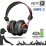 Avantree Audition Hybrid Bluetooth 4.0 Headphones with NFC, Built-in Mic & 40h music time, Deep Bass, over-the-ear design, wire & wireless 2-in-1, Universal compatible with smart phones, Tablets, computers, and nearly all Bluetooth enabled audio devices.