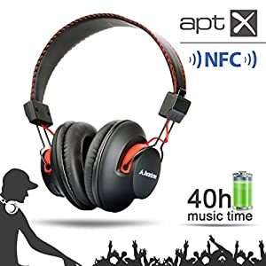 Avantree Audition, Bluetooth 4.0 NFC over-the-ear Headphones, dual mode, wireless & wired 2-in-1, Superb sound, Long music time (40hrs), Universal compatible with smart phones, Tablets, computers, and nearly all Bluetooth enabled audio devices