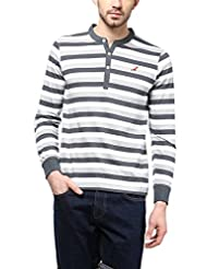 American Crew Men's Striped Henley Full Sleeves T-Shirt (White, Grey & Light Grey)