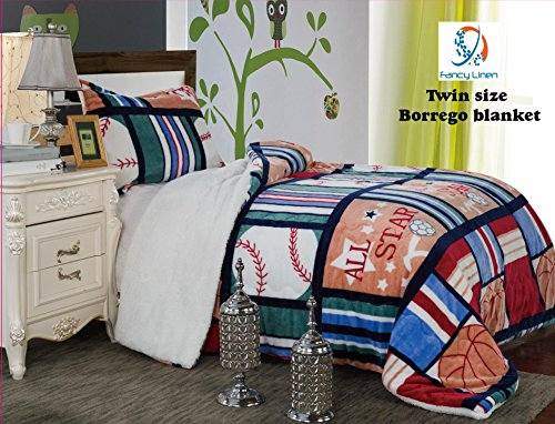 Fancy Collection 2pc Twin Size Teens/boys Blanket Sumptuously Soft Plush Sport Blue Red Green with Sherpa Winter Blankets Bedspread Super Soft New
