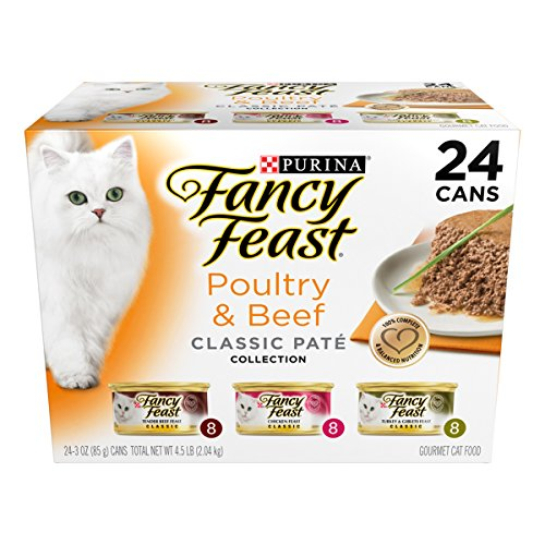 Fancy Feast Wet Cat Food, Classic, Poultry & Beef Feast Variety Pack, 3-Ounce Can, Pack of 24 (Meat Shipping Box compare prices)